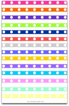 polka dot paper, paper lint, paper ribbon, hot pink, lime green, orange, purple, blue, free dividers, free borders