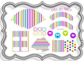 candy, candy color, candy party decorations, candy stripes, party hat, cake slice box, cupcake sleeves, cake toppers, free tags,