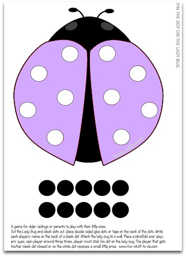 fun party games, free party games, printable party games, party game ideas, kids party games, birthday party games, indoor party games, pin games, ladybug games