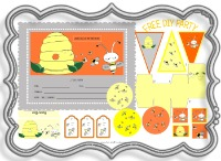 free, party, decoration, birthday, party, pack, kit, birthday, kids, fun, bee, hive, printable, yellow, orange, silver, black, box, hat, pennant, honey, rainbow, game, invitation, labels, flags, cute
