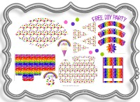 free, party, decoration, ideas, birthday, party, pack, kit, birthday, kids, fun, jelly bean, printable, pink, purple, red, green, yellow, orange, silver, bag, hat, pennant, easter, rainbow