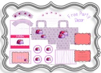 free, party, decorations, supplies, ideas, 1st, birthday, party, pack, party kit, ideas, birthday, decorating, kids, fun, cupcake, printable, free, pink, purple, red, silver