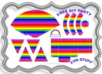 free, party, decoration, supplies, ideas, 1st, birthday, party, pack, kit, birthday, kids, fun, rainbow, printable, free, pink, purple, red, green, yellow, orange, silver, bag, hat, pennant