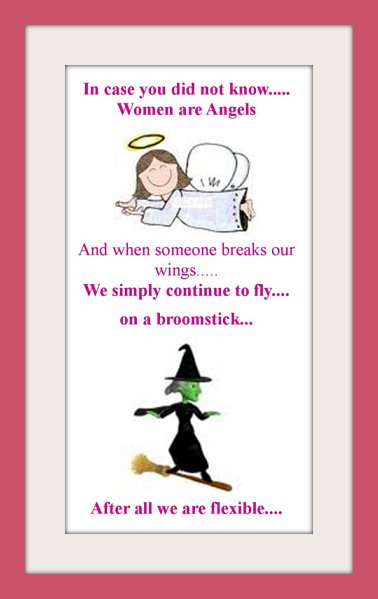 Picture jokes, Angel, broomstick, email joke picture, funny joke picture, really funny picture jokes