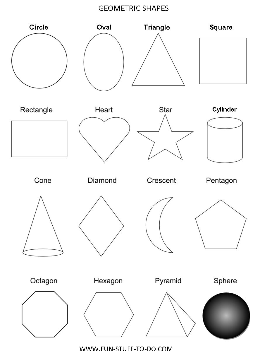 Geometric shapes worksheets free to print for Geometric shapes coloring pages