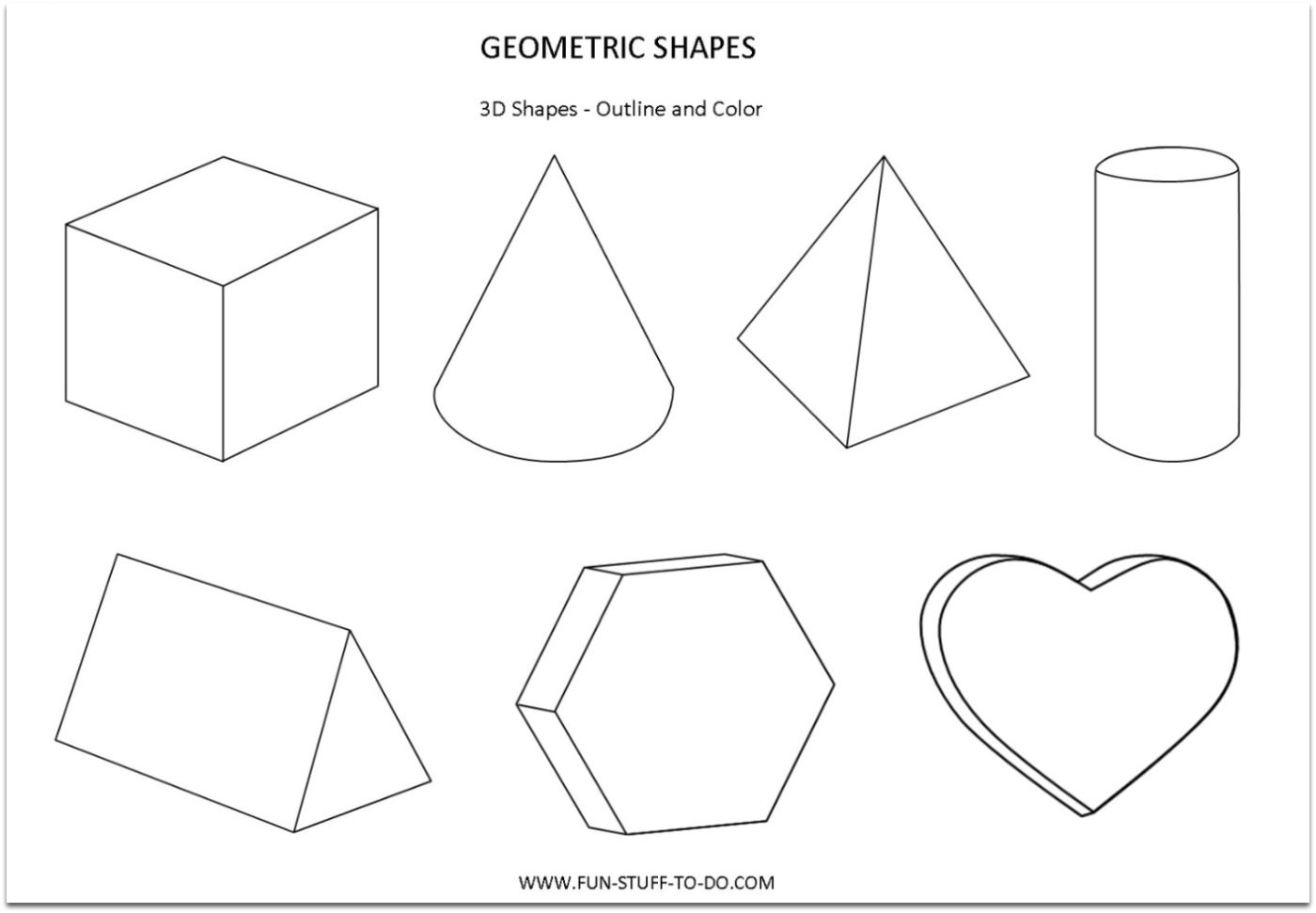 Worksheets Three Dimensional Shapes Worksheets geometric shapes worksheets free to print print