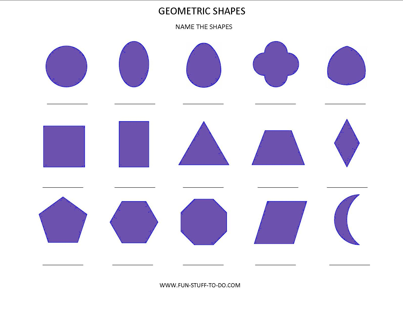 Printables Different Shapes And Names geometric shapes worksheets free to print print