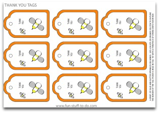 free tags, free stickers, printable tags, bee tags, honey bee tags, tags to decorate, orange tags, party decoration ideas, party decorating ideas