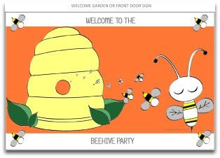 welcome sign, garden sign, party welcome sign, bee welcome sign, party decorations, party decorating ideas, birthday party themes