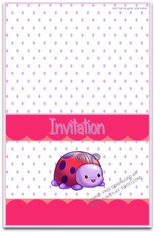 Printable Party Invitation Free Instant Download Ladybug Purple Polka Dot