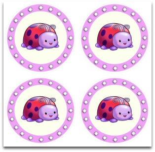 tags, free, labels, small, cake toppers, stickers, ladybug, purple, red, cute, download, printable