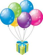 1st birthday balloons and gift box