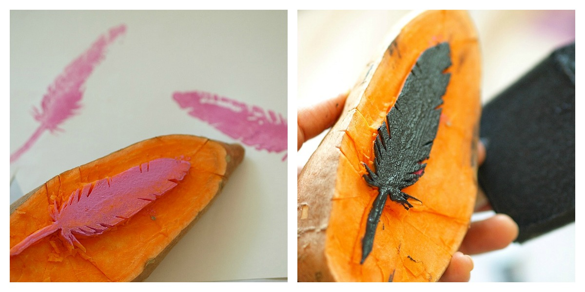print a feather with potato