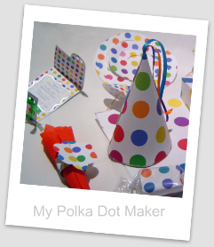 polka dot, party decorations, Invitation, party hat, dangler, candy wrapper