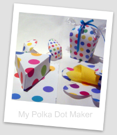polka dots, party decorations, cake slice box, goodie bag