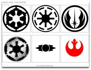 star wars, star wars emblems, free tags, free labels, cake toppers, party decorations, party decorating ideas, star wars party