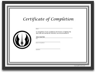 Star wars party decorations for Jedi certificate template free