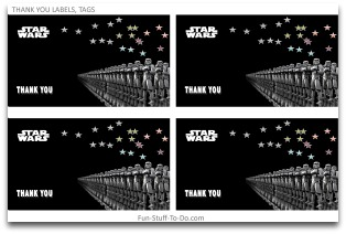 picture regarding Star Wars Thank You Cards Printable Free called Star Wars Get together Decorations