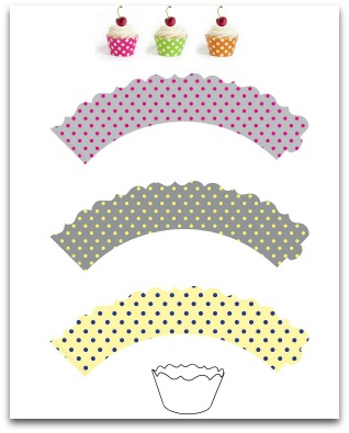 Cupcake wrappers tiny polka dots