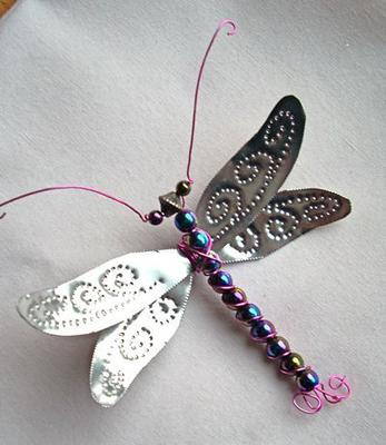 Soda Can and Beads Dragonfly