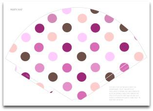 printable pink polka dot party hat