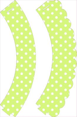 Green Polka Dot Cupcake Wrappers