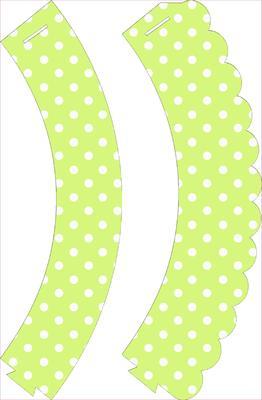 Green Polka Dot Cupcake Wrappers