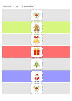 Christmas Water Bottle Labels Or Napkin Rings