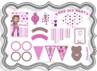 free, decoration, birthday, party, pack, kit, tween, teen, fun, printable, pink, silver, brown, box, bag, hat, pennant, game, invitation, labels, flags, water bottle label, cake topper