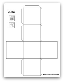 Printable shapes for 3 dimensional cube template