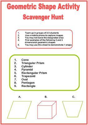Geometric Shapes To Print - Scavenger Hunt