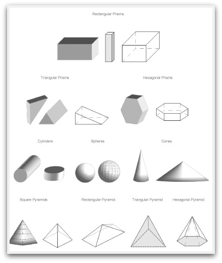 Worksheet Shapes Mathematical Names geometric shapes to print cut color and fold 3d print
