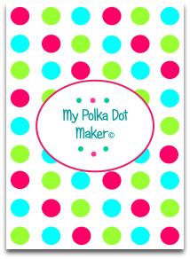 polka dots, candy, blue, green, dark pink