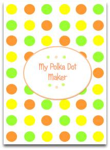 polka dots, candy, orange, yellow, green