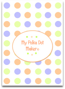 polka dots, pastel, blue, purple, peach, green