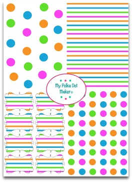 polka dots, stripes, pink, green, blue, orange