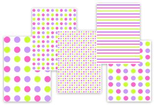 pink purple green polka dots