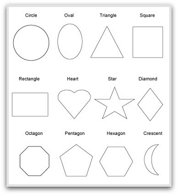 Revered image inside printable pictures of shapes