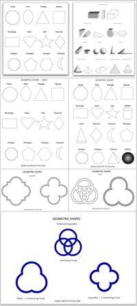 2D-3D geometric shapes worksheets free print
