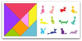 tangram shapes, travel games, make toys