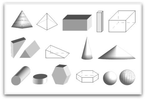 3D geometric shapes, 3D shapes, shapes, 3D, polyhedra, polyhedron, shapes