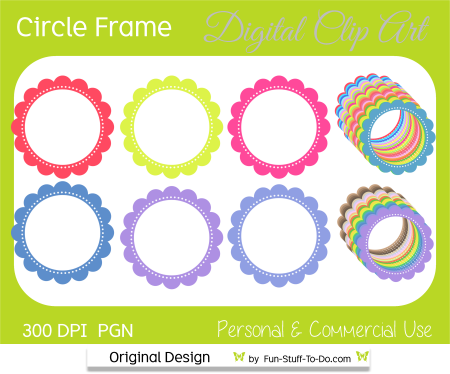 scalloped circle frames png