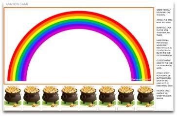 fun party games, free party games, printable party games, party game ideas, kids party games, birthday party games, indoor party games, pin games, rainbow games, pot of gold games,