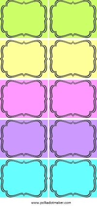 free labels, printable labels, party labels, bracket labels, party decorations, pink labels, lime green labels, purple labels, orange labels