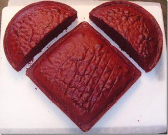 fun homemade heart shaped cake made with a circle and a square