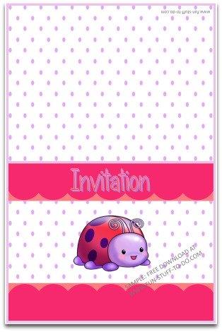printable, party invitation, free, instant download, ladybug, purple, polka dot, birthday invitation, ladybug