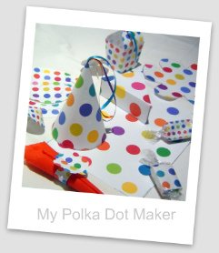 polka dots, party decorations, candy wrappers, place mats, party hat, cake slice box, favor bag, Serviette Holder