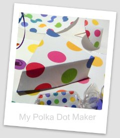 polka dots, party decorations, cake slice box, drink parasol, chocolate bar wrapper