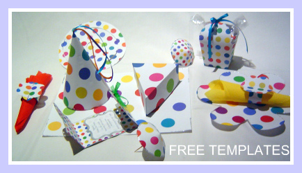 bright polka dots, free templates, party decorations, cool colors
