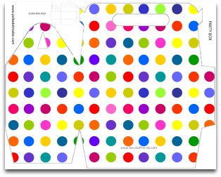 party box, favor box, gift box, polka dots, free printable, birthday party decoration